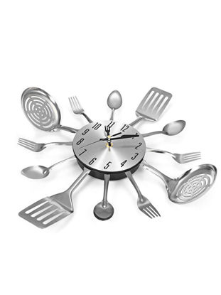Picture of Wall Clock Metal Kitchen Cutlery Slient Clock Spoon Fork Home Decoration