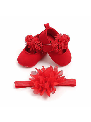 Picture of 2Pcs Baby's Pre-Walkers Sweet Lovely Flower Antiskid Shoes Hairband Set - 11cm