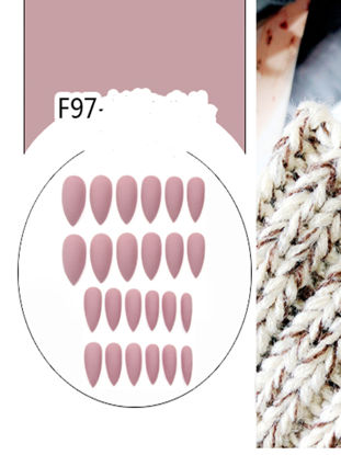 Picture of 24 Pieces Women's Artificial Nails Pointed Toe Solid Color All Match Manicure Art