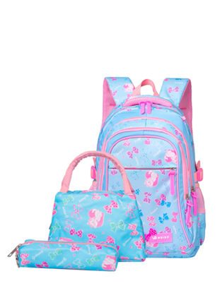 Picture of 3 Pcs Girl's Bag Set Cartoon Bowknot Cat Pattern Waterproof Lightweight Backpack Handbag Pencil Bag Set - One Size
