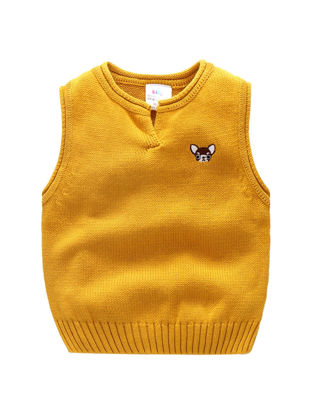 Picture of Toddler Boys Boy's Vest Cartoon Likable Printed O Neck Knitting Soft Leisure Top - Reference Height:90cm