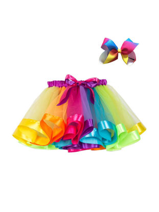 Picture of Toddlers 2 Pcs Girl's Skirt & Hair Clip Set Color Block Sweet Bubble Skirt Cute Bowknot Hair Accessory Set - Reference Height:90cm