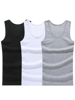 Picture of 3 Pcs Men's Tank Top Solid Color Sweat Absorption Breathable Tank Top - XXL