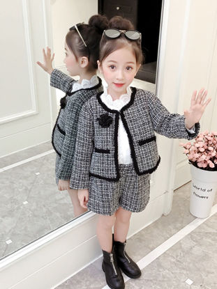 Picture of Toddler Girls Girl's 2 Pcs Shorts Set Design Long Sleeve Plaid All Match Comfy Suit - Reference Height:130cm
