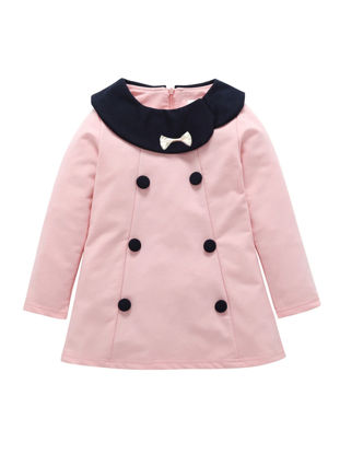 Picture of Toddlers Girls' Dress Comfy Bow Button Long Sleeve Chic Design Dress - Reference Height:120cm