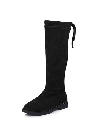 Picture of Girl' High Boots Retro Style Pure Color Back Lace Elegant Shoes - 36