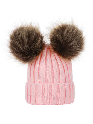 Picture of Women's Beanie Cute Double Fuzzy Ball Fashion Warm Knitted Hat - One Size