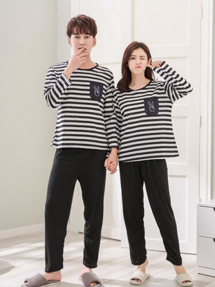 Picture of Couple's Pajama Set O Neck Long Sleeve Striped Comfy Casual Home Pants Suit - Women L