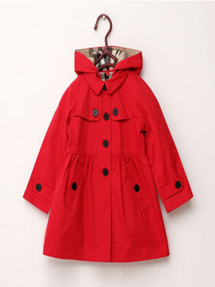 Picture of Toddler Girls Girl's Trench Coat Thickening Solid Color Hooded Fashion Outerwear - Reference Height:100cm