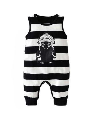Picture of Baby Baby's Romper Casual Sleeveless Stripe Small Monster Print Jumpsuit - 60cm