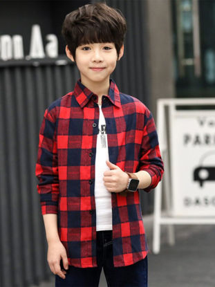 Picture of Toddlers Kid's Shirt Long Sleeves Plaid Pattern All Match Top - Reference Height:155cm
