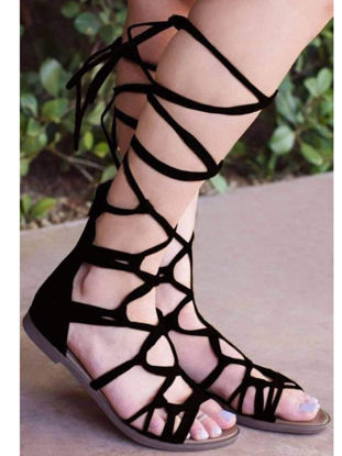 Picture of Women's Flat Sandals Solid Color Strappy Fashionable Creative Design Shoes - 42