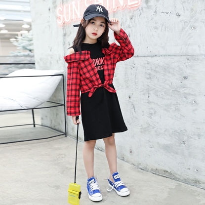 Picture of Girls' Dress Patchwork Hollow Out One Piece Layer Look Checkered Pattern Sweet Dress - Reference Height:160cm
