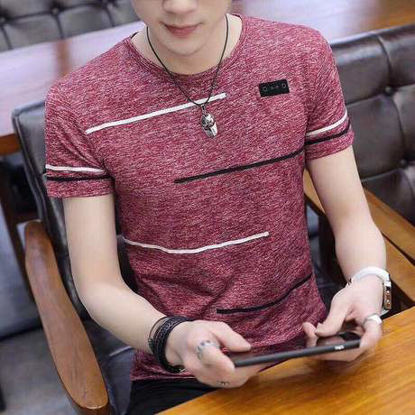 Picture of Men's T Shirt Color Block Stripes O Neck Short Sleeve Top - XL