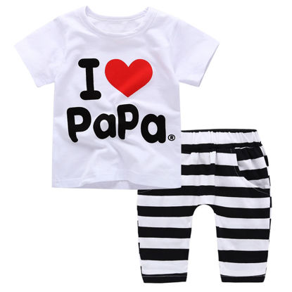 Picture of Baby Baby's 2 Pcs Pants Set Letters Pattern T-Shirt and Striped Pants Set - 70cm