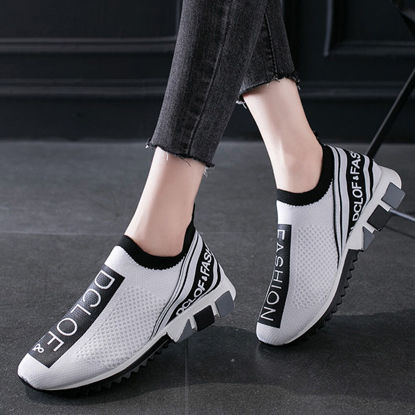 Picture of Women's Sports Shoes Lightweight Breathable Lettered Slip On Shoes - 40