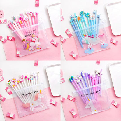 Picture of 10 Pcs Gel Pens Set Candy Color Cute Cartoon Shape Stationery Set - One Size