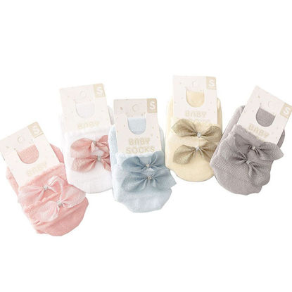 Picture of 5 Pairs Kid's Socks Sweet Bowknot Decor Stylish Lovely Socks - M