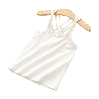 Picture of Toddler Girls Girl's 1Pc Vest Plain Style Hollow Out Sweet Solid Color O Neck Top - Reference Height:120cm