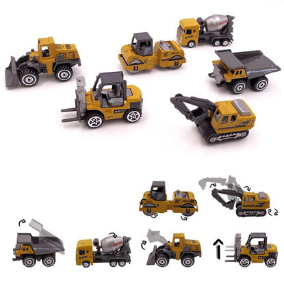 Picture of 6Pcs Pull Back Vehicles Set Alloy Engineering Excavator Mixer Forklift Models Set