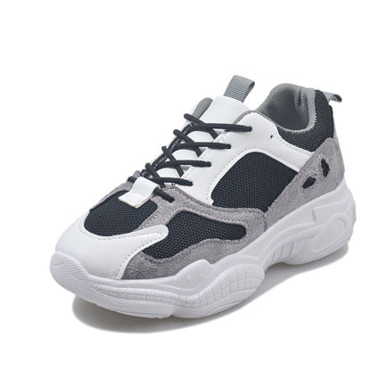 Picture of Women's Fashion Sneaker Thick Sole Mesh Breathable Lacing Comfort Casual Shoes - 39