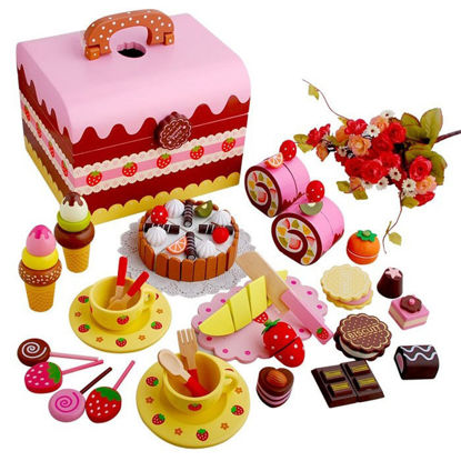 Picture of 1 Set Kid's Pretend Play Toy Wooden Cake Sweet Princess Afternoon Tea Group Strawberry Chocolate Kitchen Toy