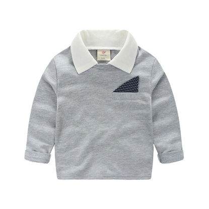 Picture of Toddler Boys Boy's T Shirt Contrast Patchwork Simple Long Sleeve Top - Reference Height:90cm