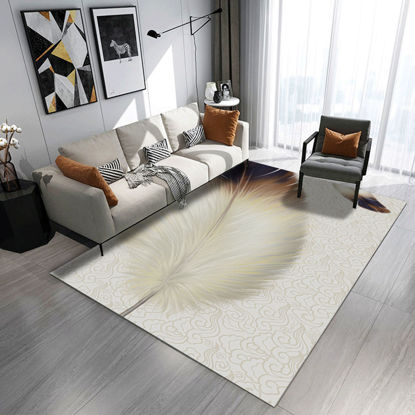 Picture of Rug Modern Feather Pattern Living Room Tea Table Anti-Skidding Floor Mat - 200*300(W*L)cm