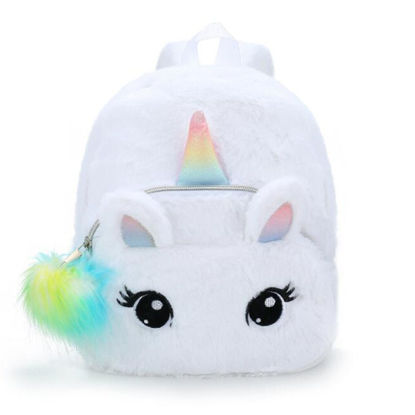 Picture of Girl's School Bag Lovely Unicorn Design Fluffy Bag - One Size