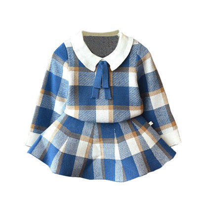 Picture of Toddler Girl's 2 Pcs Set Plaid Design Knitting Top Aline Skirt Set - Reference Height:90cm