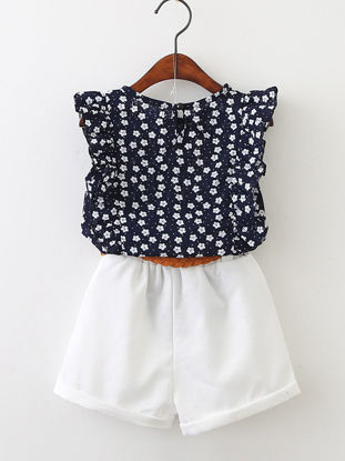 Picture of Toddlers Girl's 2 Pcs Suits Sleeveless Floral Top And Shorts With Belt Kids Clothes - Size: Reference Height:125cm