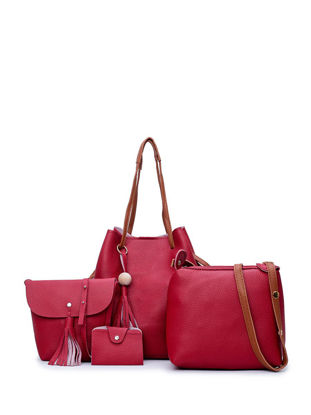 Picture of 4 Pcs Women's Handbag Set Elegant Solid Color Brief Style Tassel Bags Set - Size: Free