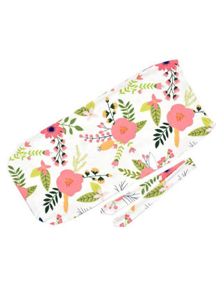 Picture of 2Pcs Baby's Swaddle Blanket Baby Floral Sleeping Bag Bowknot Headband Set - Size: One Size