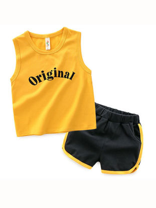 Picture of Toddler Boys Boy's Two Pieces Set Sleeveless Sporty Letter Top Casual Elastic Waist Shorts Set - Size: Reference Height:100cm