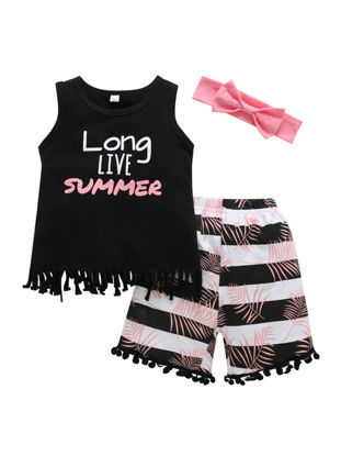 Picture of Toddlers 3Pcs Girl's Shorts Set Stylish Fringed Sleeveless Vest Bowknot Hairband Striped Shorts Kids Clothes Set - Size: Reference Height:110cm