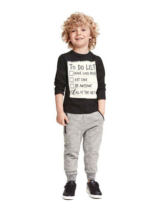 Picture of Toddler Boys 2Pcs Boy's Sports Outfits Long Sleeve Letter Printed T-Shirt Top Jogger Pants Set - Size: Reference Height:100cm