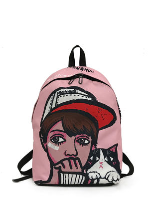 Picture of Women's Backpack Fashion Hip-Hop Cartoon Printed Back Bag - Size: One Size