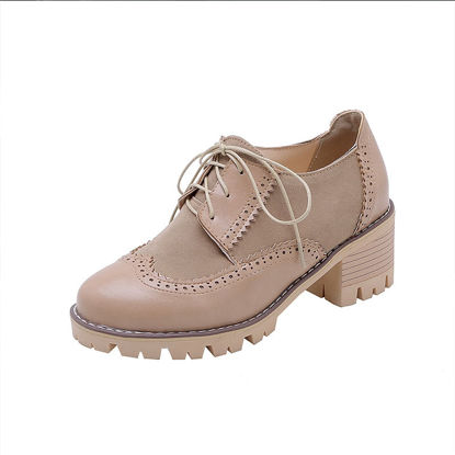 Picture of Women's Strappy Oxfords Lacing Round Toe Casual Shoes - Size: 43