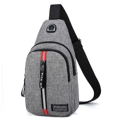 Picture of Men's Waist Bag Multi Zipper Design Casual Chest Bag - Size: One Size