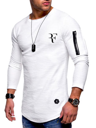 Picture of Men's T-Shirt O Neck Long Sleeve Zipper Decor Slim Top - Size: 3XL