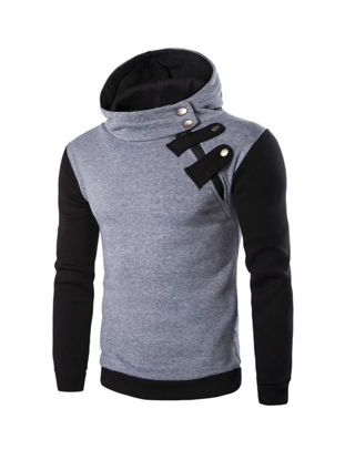 Picture of Casual Style Men's Hoodies Stylish Colorblock Long Sleeve Hooded Coat - Size: M