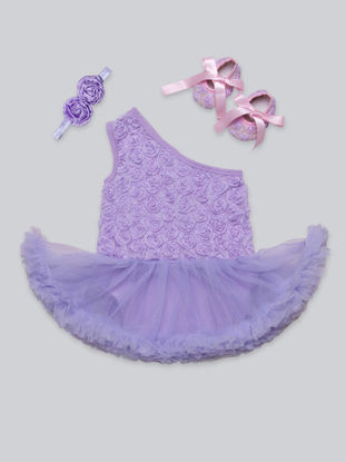 Picture of Baby Girl's Romper 3 Pcs Headband Shoes Single Shoulder Baby Girls Romper - Size: 3-6 M