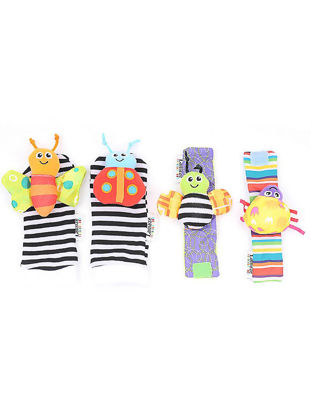 Picture of Baby's Rattles 4Pcs Dragonfly Bee Ladybird Wrist Band Socks Bells Puzzle Toys - Size: One Size