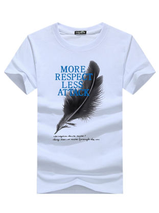 Picture of Men's T Shirt Plus Size Fashion Feather Printing Short Sleeve Comfy Top - Size: M