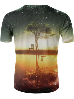 Picture of Men's T-Shirt 3D Tree Pattern Plus Size Street Fashion Skin-Friendly Stylish Top - Size: XL