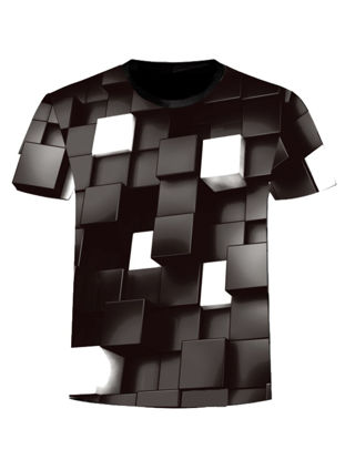 Picture of Men's 3D Printed O Neck T-Shirt Fashion Personality Short Sleeve Tee - Size: M