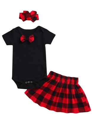Picture of Baby's 3 Pcs Outfits Hairband + Short Sleeve Rompers + Plaid Skirt Fashion Clothing Set - Size: 70cm