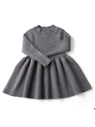Picture of Baby Girl's Knitted Dress Solid Color Long Sleeve Chic Warm Dress - Size: 80cm