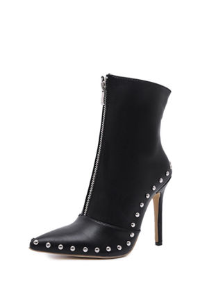 Picture of Women's Ankle Boots Elegant Pointed Toe Thin Heel Zipper Boots - Size: 37