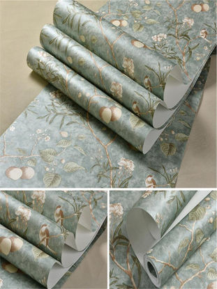 Picture of 10m/roll Wall Decoration 3D Vintage Flower American Garden Style Wall Paper - Size: One Size